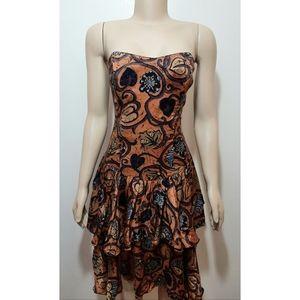 Vintage 80s René Derhy Sweatheart Neck Boho Dress